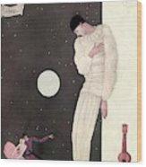 A Sad Reveler Wood Print