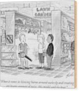A Salesman Shows A Couple A Leaf Blower Wood Print by Tom Toro