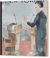 A Scene From The Presidential Debate Wood Print