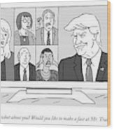 A Screen Split Between Trump And Five Pundits Wood Print