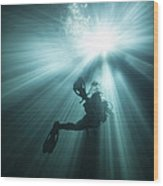 A Scuba Diver Ascends Into The Light Wood Print by Michael Wood