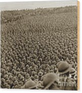 A Sea Of Helmets World War One 1918 Wood Print