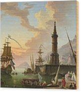 A Seaport Wood Print