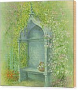 A Seat In The Garden Wood Print by Garry Walton