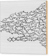 A Shark Is Chased By A School Of Fish That Wood Print
