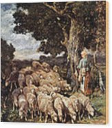 A Shepherdess With Her Flock Near A Stream Wood Print