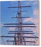 A Tall Ship At Sundown In Baltimore Wood Print