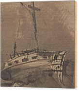 A Ship In Choppy Seas Wood Print