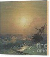 A Ship In Distress Wood Print