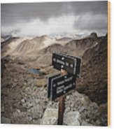 A Signed Trail Junction On The Way Wood Print