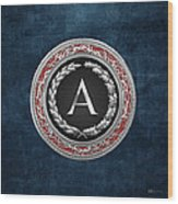 A - Silver Vintage Monogram On Blue Leather Wood Print