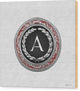 A - Silver Vintage Monogram On White Leather Wood Print
