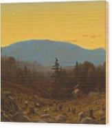 A Sketch Of Hunter Mountain. Catskills. Twilight On Hunter Mountain Wood Print