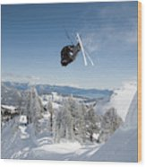 A Skier Doing A Front Flip Into Powder Wood Print