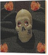 A Skull In The Dark Pop Art Wood Print
