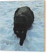 A Small Panther In The Snow Wood Print by Cheryl Poland
