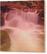 A Small Waterfall Along The Old North Cascade Highway  Wood Print