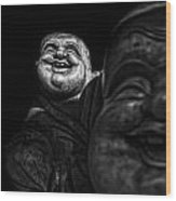 A Smile On The Shoulder - Bw Wood Print