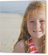 A Smiling Young Girl Enjoys A Sunny Wood Print