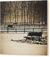 A Snow Covered Horse Farm Wood Print