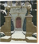 A Snow Covered Pathway Leading To A Mansion Wood Print