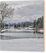 A Snowy Day On Lake Chatuge Wood Print