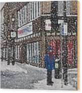 A Snowy Day On Wellington Wood Print by Reb Frost
