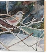 A Snowy Perch Wood Print