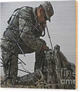 A Soldier Communicates Using A Wood Print