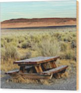 A Solitary Wooden Picnic Bench Wood Print