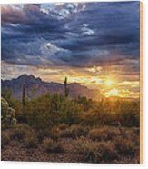 A Sonoran Desert Sunrise Wood Print