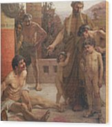 A Spartan Points Out A Drunken Slave To His Sons Wood Print