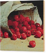 A Spilled Bag Of Cherries Wood Print