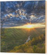 A Spring Sunset On Beauty Mountain In West Virginia. Wood Print