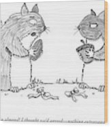 A Squirrel Couple Exchange Gifts Of An Acorn Wood Print