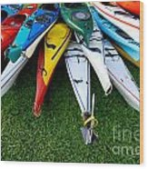 A Stack Of Kayaks Wood Print