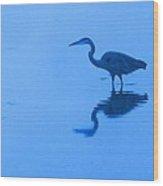 A Stalking Heron Wood Print
