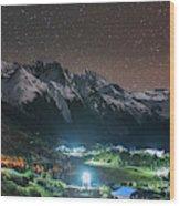 A Starry Night In Laigu Village, Tibet Wood Print