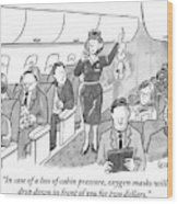 A Stewardess Is Holding Up An Oxygen Mask Wood Print