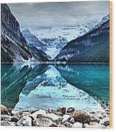 A Still Day At Lake Louise Wood Print