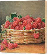 A Still Life Of Raspberries In A Wicker Basket  Wood Print