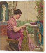 A Stitch Is Free Or A Stitch In Time 1917 Wood Print by John William Godward