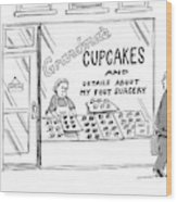 A Storefront Reads: Grandma's Cupcakes Wood Print