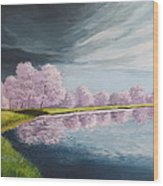 A Storm Over Cherry Trees Wood Print