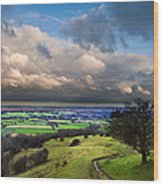 A Storm Over English Countryside With Dramatic Cloud Formations  Wood Print