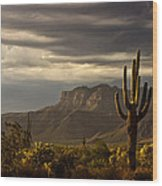 A Stormy Evening In The Superstitions  Wood Print