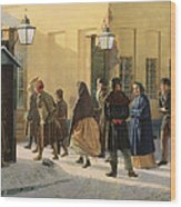 A Street Scene, Outside A Prison, 1868 Oil On Canvas Wood Print