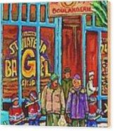 A Stroll After The Hockey Game St Viateur Bagel Montreal Winter Street Carole Spandau Wood Print