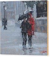 A Stroll In The Rain Wood Print by Laura Lee Zanghetti