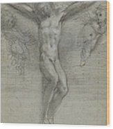 A Study Of Christ On The Cross With Two Wood Print